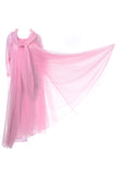 Full Sweep Vintage Nightgown Robe Peignoir Pink Chiffon