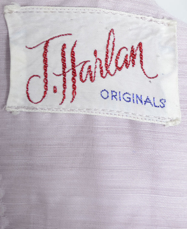 1950's Lavender Dress Lace Trim J. Harlan Originals 38 B - Dressing Vintage