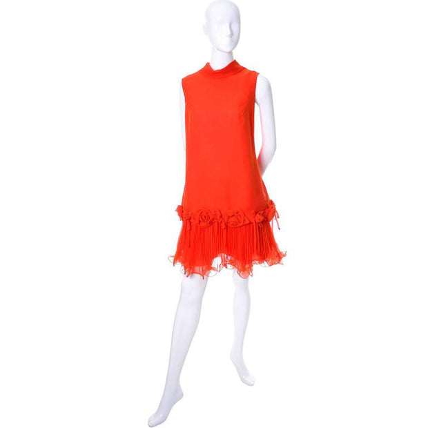 Vintage 1960's red chiffon dress with original tags by Jack Bryan