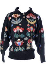 Floral Knit Vintage Sweater Made in Wales