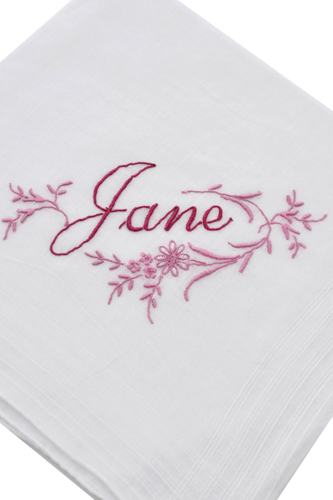 Vintage Jane Monogrammed Handkerchief with Pink Flowers - Dressing Vintage