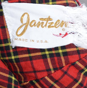 1950's Jantzen Red Plaid Vintage Swimsuit or Romper Diving Girl Label - Dressing Vintage