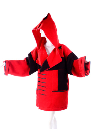 1980s Jean Charles de Castelbajac Red & Black Wool Blanket Coat