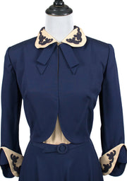 Jean Lang 1940s vintage dress and jacket suit with soutache trim - Dressing Vintage