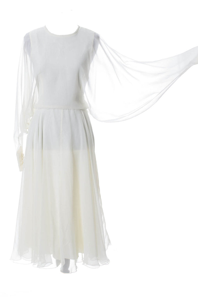 John Bates Jean Veron chiffon white cocktail wedding dress