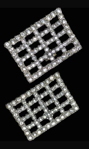 Vintage Rhinestone Shoe Clips or Dress Clips in Grid Design - Dressing Vintage