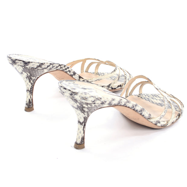 Gray and Cream Jimmy Choo Snakeskin Slide Sandals With Heel
