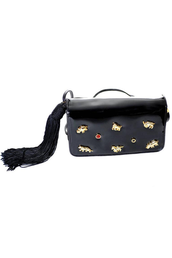 Judith Leiber patent leather bag with tassel and animals