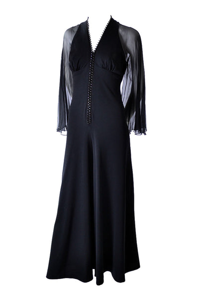 Vintage 1970s Black Jumpsuit with Sheer Sleeves and Rhinestones - Dressing Vintage