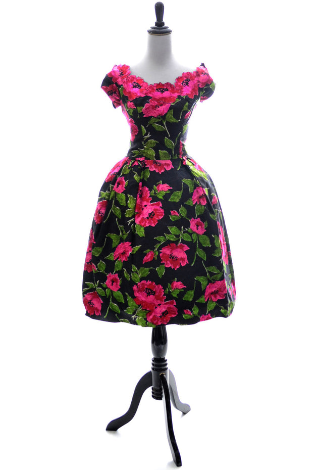 1950s Kay Selig Floral Silk Vintage Dress SOLD - Dressing Vintage