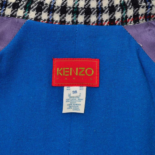 Kenzo Paris 1980's houndstooth plaid coat