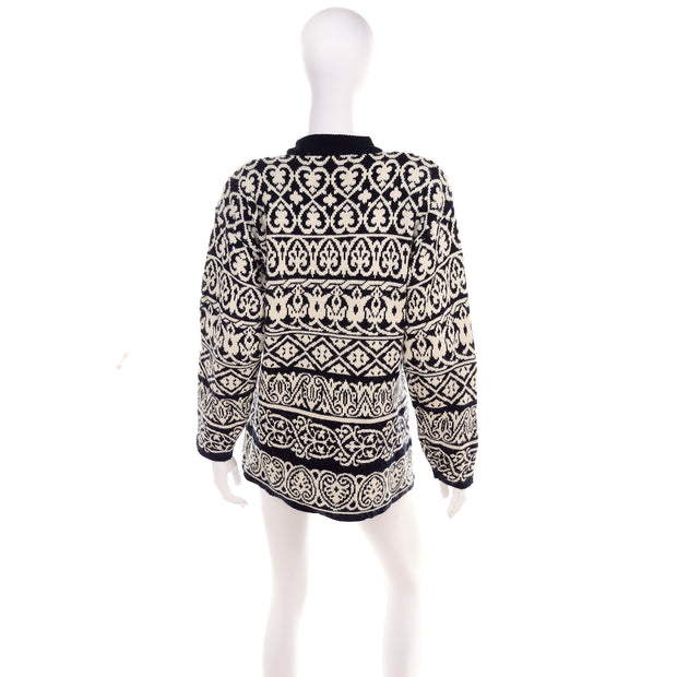 1980's Black & White Mock Neck Sweater w/ Jeweled Patches