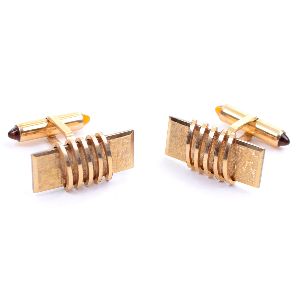 Krementz gold plated vintage set of cuff links with jeweled ends and tie bar