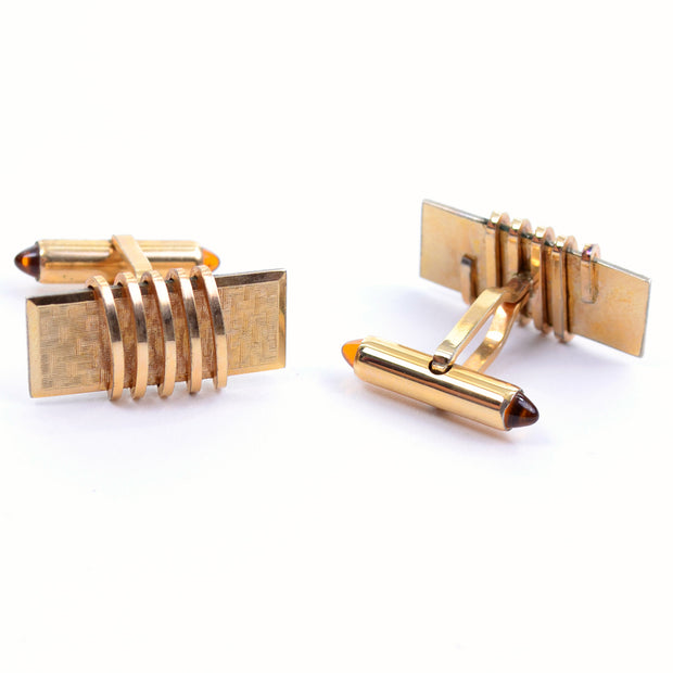 Art Deco Krementz gold plated vintage set of cuff links and tie bar