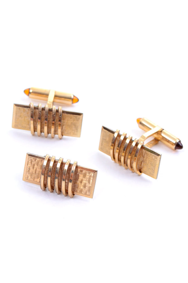 Krementz gold plated vintage set of cuff links and tie bar