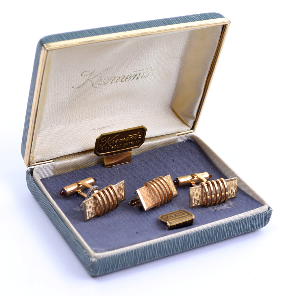 Krementz box set of gold plated vintage set of cuff links and tie bar