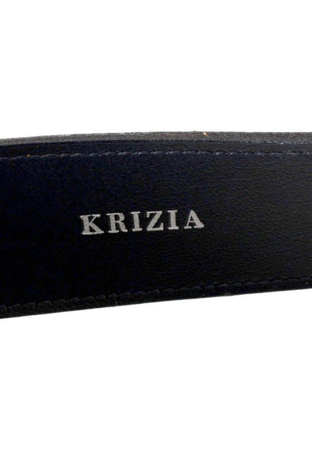 1980s Krizia Extra Long Vintage Brown Leather Belt Japanese