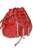 La Bagagerie vintage red leather drawstring handbag