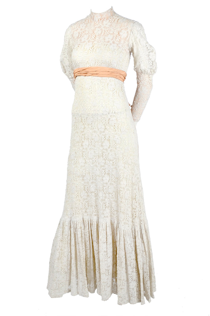 Victorian Ivory Crochet Lace High Collar Wedding Gown Size 2 ...