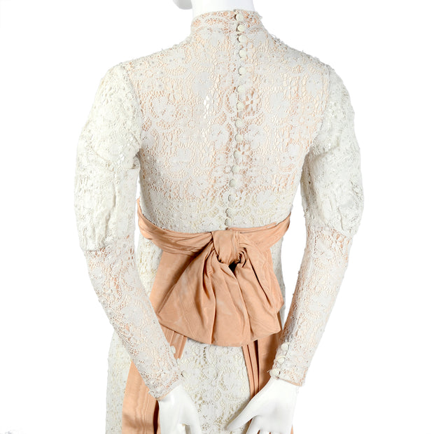 Edwardian lace wedding dress with leg of mutton sleeves