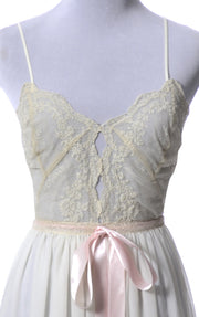 1950s Vintage Nightgown with Sheer Lace Bodice Rare Iris Lingerie Co. - Dressing Vintage