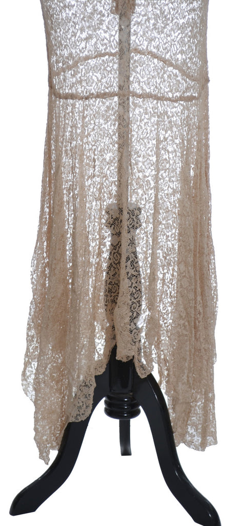 1930's bias cut lace vintage dress