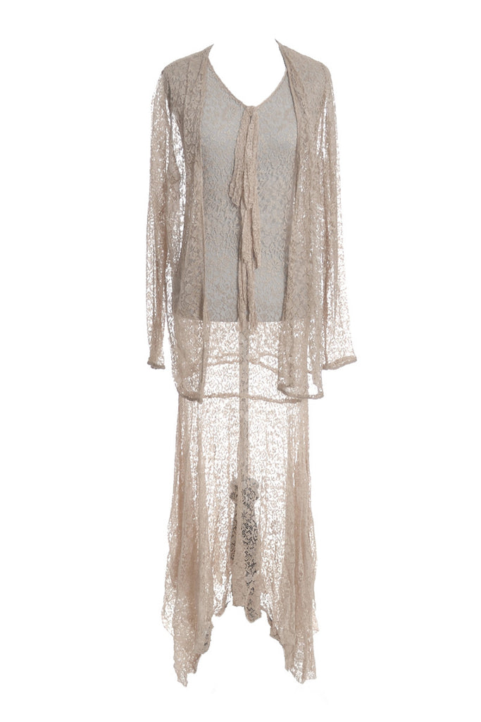 1930's Lace Evening or Wedding Vintage Dress with Lace Coat