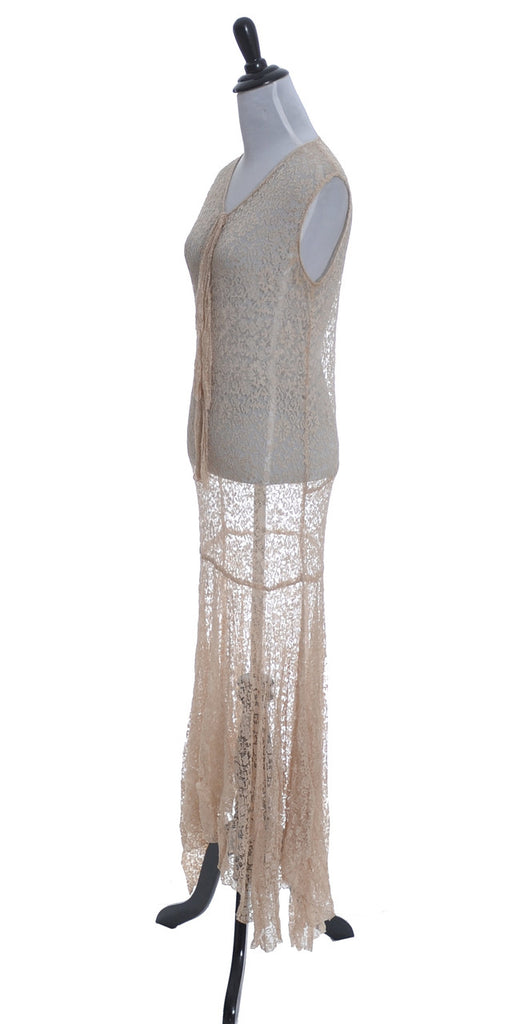1930s Vintage lace dress bias cut