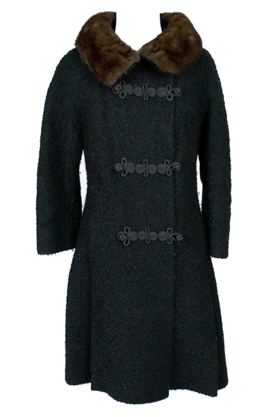 Vintage Lambswool Coat Mink Collar Hockanum Miller Sharkey - Dressing Vintage