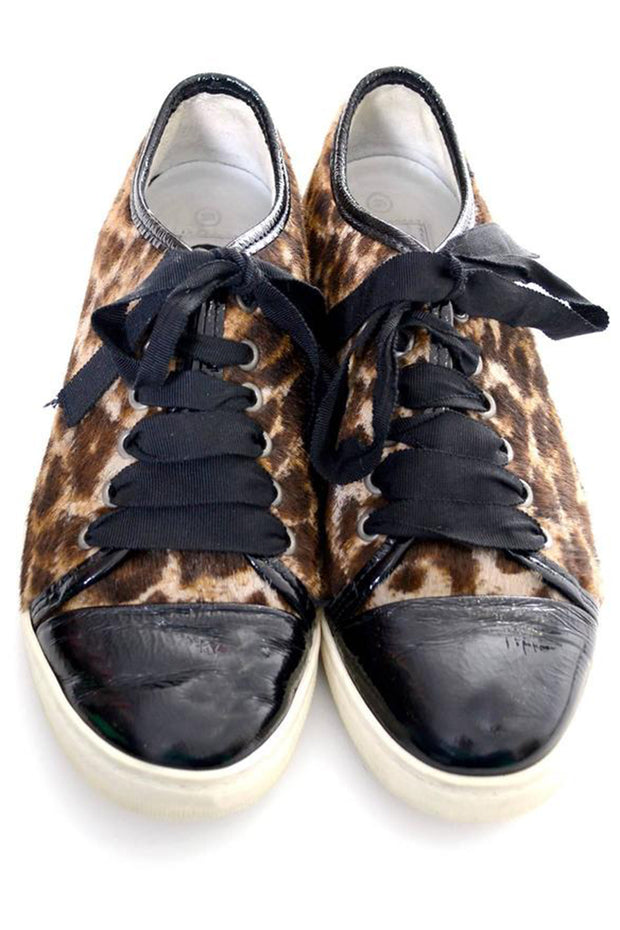 Animal Print sneakers by Lanvin with black patent leather toe