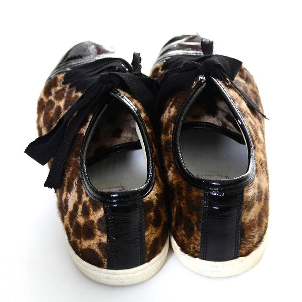 Lanvin Pony Hair Cheetah Print Sneaker Shoes w/ Patent Leather Toe 38 US 7.5