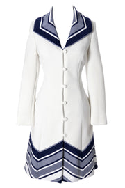 1960's Lilli Ann Knit White and Navy Blue Fitted Vintage Coat - Dressing Vintage