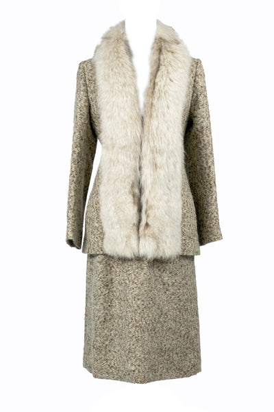 Vintage fur trimmed skirt suit Adolph Schuman for Lilli Ann - Dressing Vintage