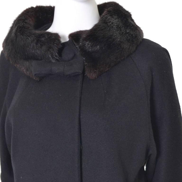 Vintage 1960's black wool Lilli Ann coat with fur trim and silk lining