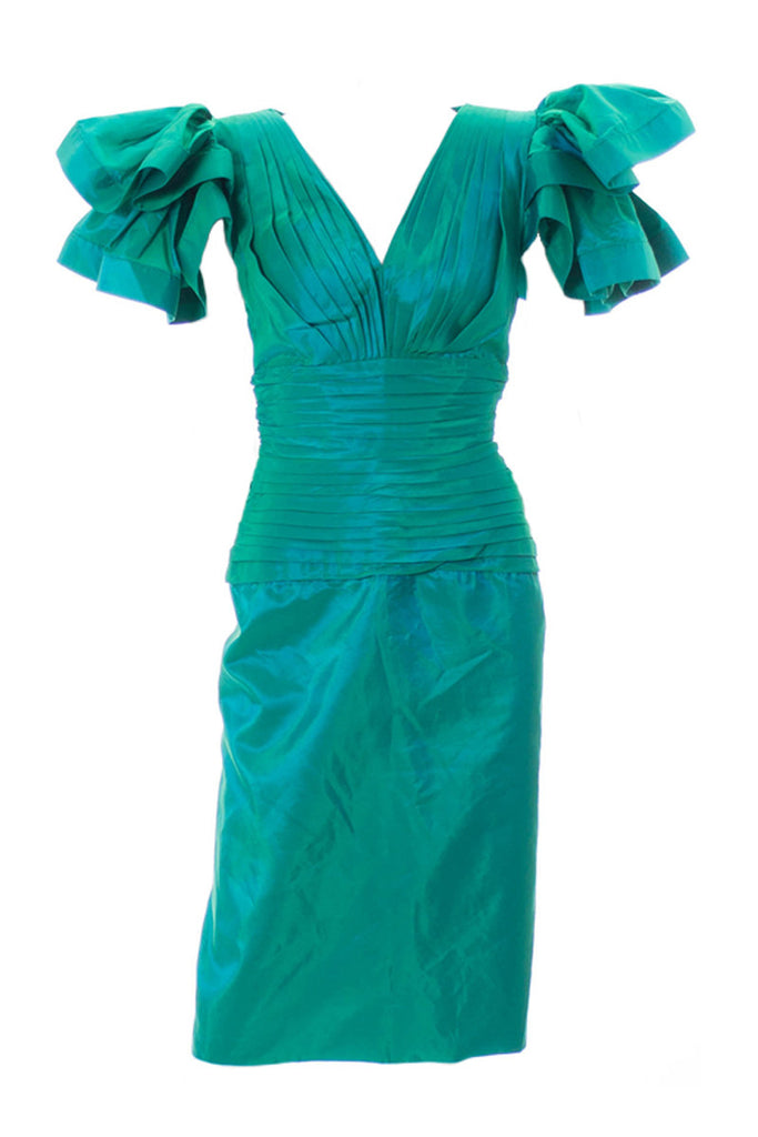 Lillie Rubin Green satin dress butterfly sleeves