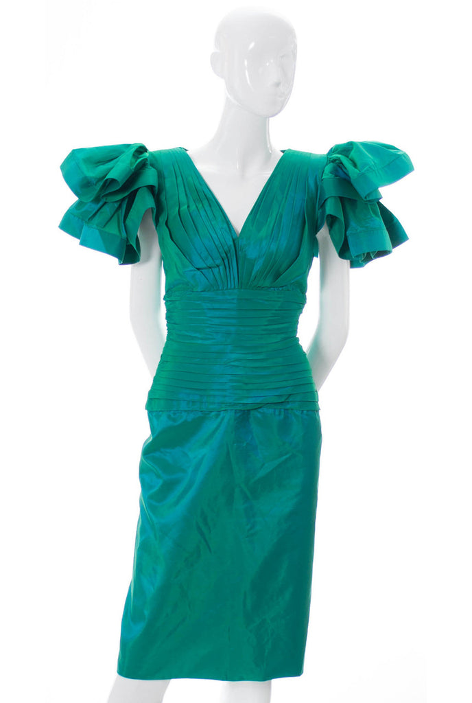 Lillie Rubin iridescent green 1980s vintage dress