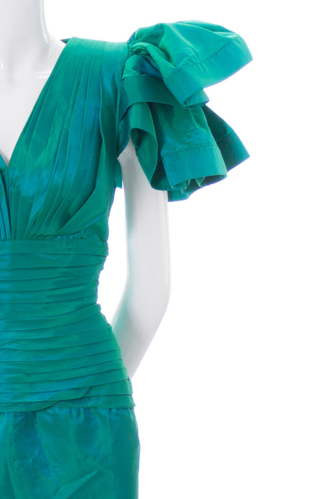 Iridescent green Lillie Rubin 1980s party dress
