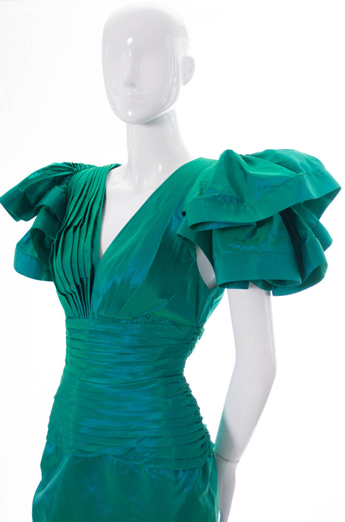 Lillie Rubin 1980s vintage green dress