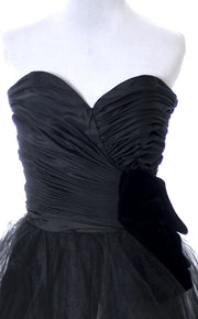 1980's Lillie Rubin Black Strapless Party Dress - Dressing Vintage