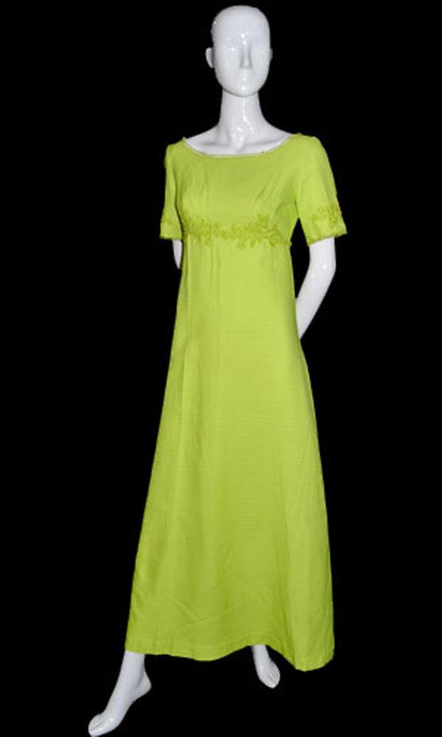 Vintage 60s Lime Green bridesmaid long dress with lace applique - Dressing Vintage