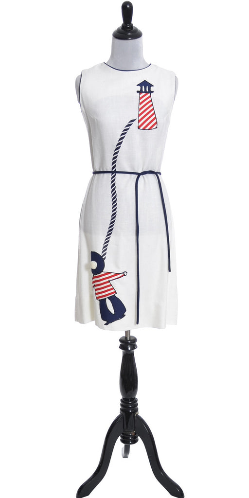 1960's Nautical Vintage Dress Lisa Linn Imperial Linen Red White and Blue - Dressing Vintage
