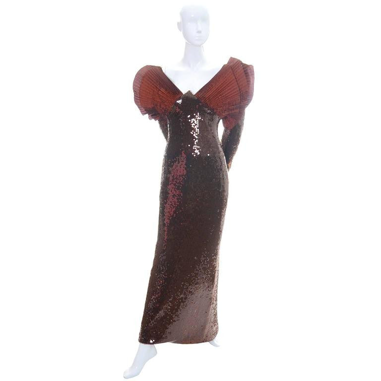 Loris Azzaro Rust sequin Vintage Dress 1980s