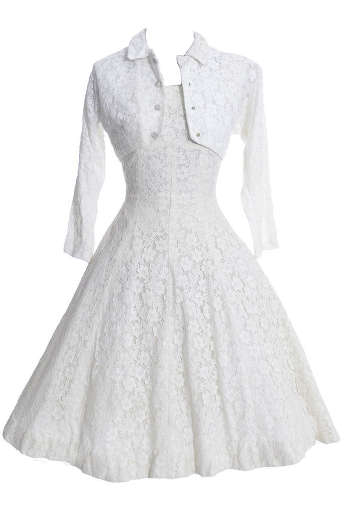 Lorrie Deb 1950s Vintage Dress White Lace Modern Wedding With