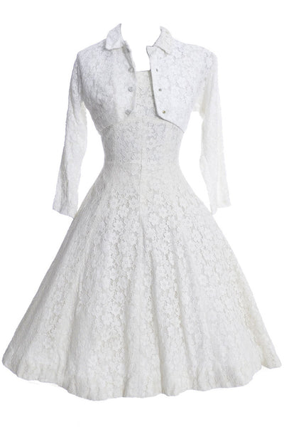 1950's White Lace Lorrie Deb Vintage Princess Cut Wedding Dress Bolero - Dressing Vintage