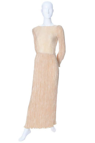1980s Cream Pleated Silk Mary McFadden Evening Gown