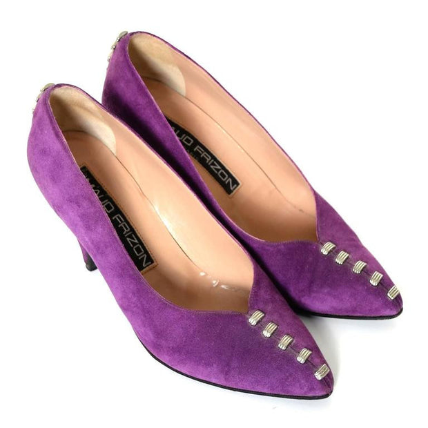 1980s Maud Frizon Purple Suede Shoes with Heel Studs Italy 37.5 7B - Dressing Vintage