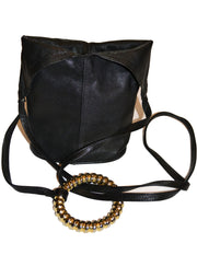 Unique vintage Black Leather Handbag New York SOLD - Dressing Vintage