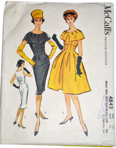 Vintage McCall's 4842 1950s dress pattern 32B - Dressing Vintage