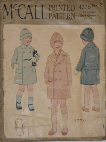 McCall 4776 1920s vintage boys coat and cap pattern Size 2 - Dressing Vintage