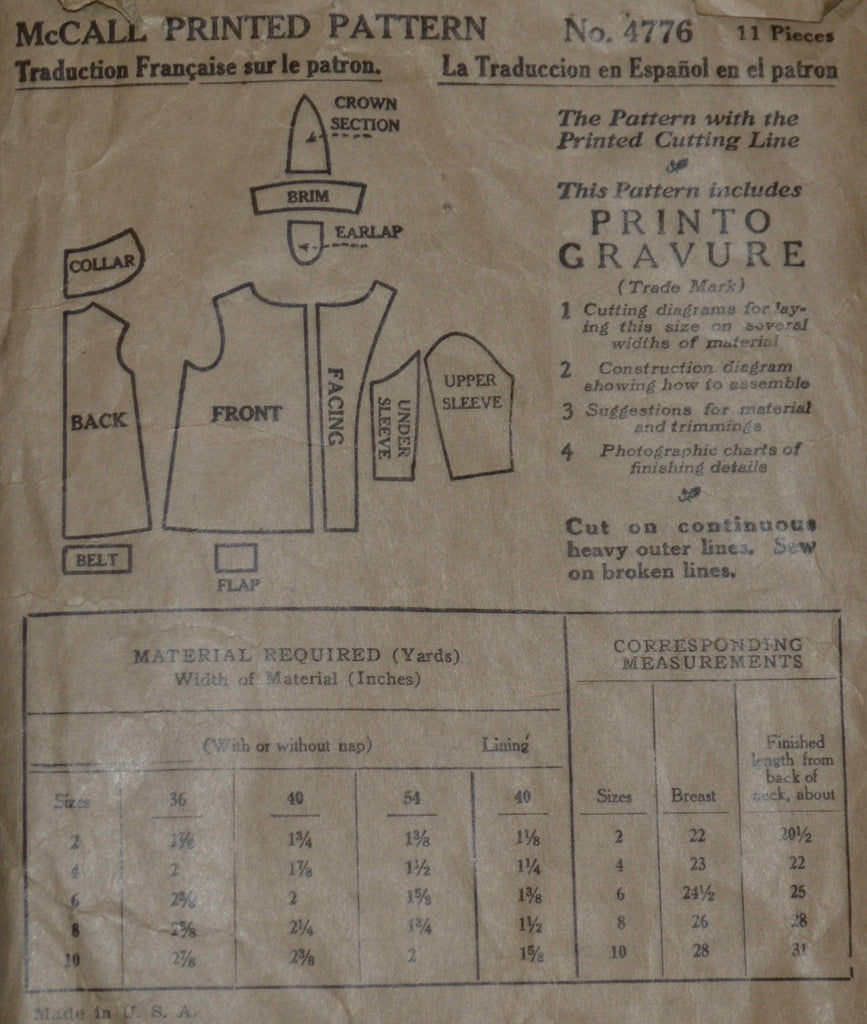 1928 vintage sewing pattern McCall 4776 coat cap